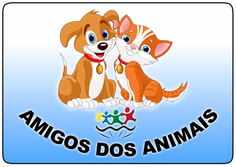 Logotipo do Projeto Amigos dos Animais onde se vê o desenho de um cãozinho e um gato sorridentes, lado a lado. Abaixo do desenho, o logotipo da administração municipal de Conchas